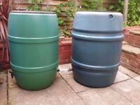 wo Plastic rain water butts drum keg barrels, Garden storage containers