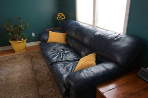 Black/Blue Leather 3-Seater Couch - great condition