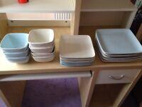 Plates and Bowls Set NEXT 5-7 settings Square Blue & Cream