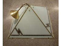 brass & glass pendent light with chain