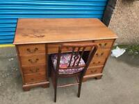 VINTAGE SOLID MAHOGANY DESK WITH CHAIR