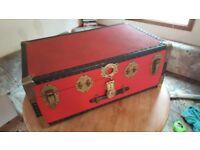 Vintage Red Steamer Trunk
