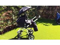 Apple Icandy Pram with carrycot, reclining pushchair seat, Maxicosy carseat and accessories