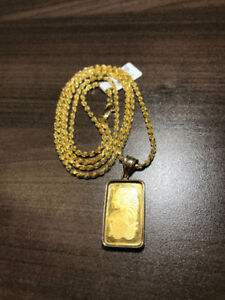 NEW 999.9 PENDANT & 14K YELLOW GOLD CHAIN ON SALE NOW !