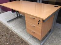 Beech 1600 desk with drawers