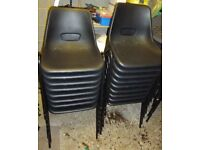 Chairs 17 black plastic stacking / stackable