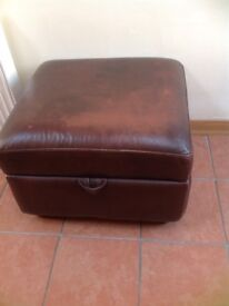 Brown faux leather footstool