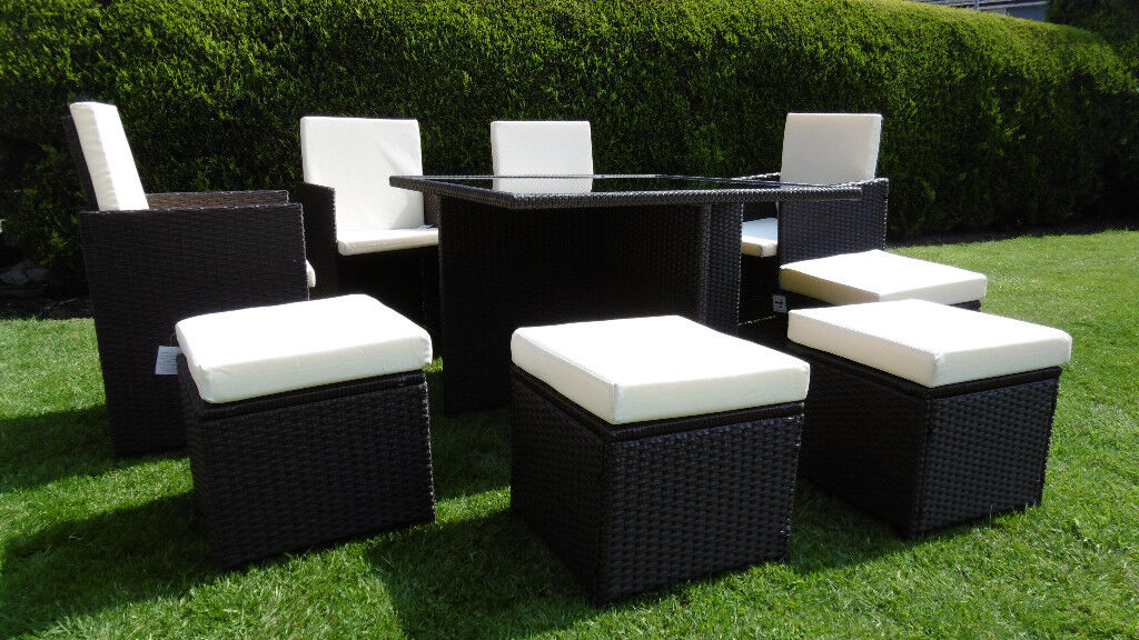 brand new rattan garden furniture cube set 8 seater 9 piece - Garden Furniture 8 Seater