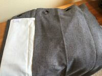 Grey Eyelet Lined Curtains Made by John Lewis - Length 136cm Width 226cm - Excellent Condition