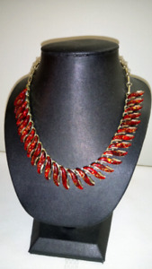 Vintage 1950s Coro Red Lucite Thermoset Confetti S Link Necklace