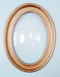 Rare HAND CARVED Wood Frame CONVEX Glass Mirror Antique Vintage