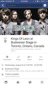 2 KINGS OF LEON tickets Aug 9 Bud Stage Sec 404