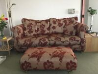 Lovely 3 seater sofa with matching footstool