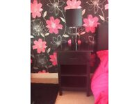 Bedside Cabinet and Lamp.