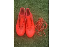 Adidas orange sock boots football moulds size 7