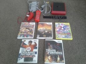 Red mini wii with games