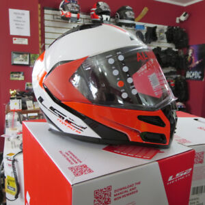 LS2 Metro Modular Motorcycle Helmet Red/White Blue/White Black/W
