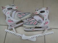 SFR Limited Edition girls' pink/grey/white Ice Skates adjustable size 4-7 with blade guards