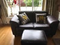 2x leather sofas plus footstool