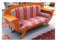 ART DECO PERIOD DESIGN CHIC BURR WALNUT SCROLL ARM SOFA/ SETTEE /COUCH