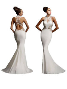 White Gown Large  wedding Evening dress women's  formal sexy