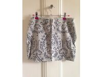 Zara beaded embellished mini skirt, size M, cream/grey/silver beads