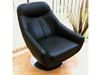 Swivel Arm Chair Real Leather