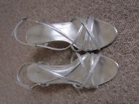 Silver heeled sandals with diamante, Size 7