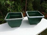 Garden planters 2 x green- good condition just wash with soapy water to look great