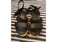 Black with yellow flatform leather Sandals Size 4