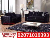 Black Crushed Velvet 3+2 Sofa--Get It Today