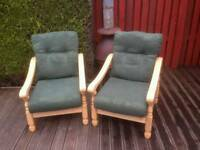 Wooden chairs and cushions