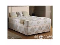 GERMAN DESIGN NEW DIVAN DOUBLE BED WITH MEMORY FOAM MATTRESS WITH 2 drawers within black & white