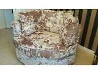 Velvet Corner couch + Swivel chair