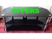 SMOKED GLASS CROME LEGGED TV TABLE LOUNGE BEDROOM MINT QUALITY V-STRONG OFFERS