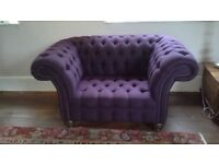 Snuggle chair/sofa, as new, purple herringbone wool, chesterfield style with deep buttons