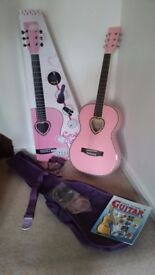 Childs Candy Rox 3/4 Acoustic Pink Guitar with lots of extras