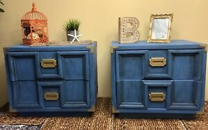 Blue end tables w/ gold hardware