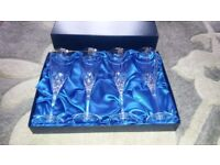 4 new crystal champagne glasses