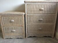 Two wicker (solid) chest of drawers