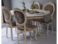 Shabby Chic Rustic French Style Dining Table & 4 Dining Chairs Velvet