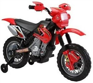 Electric Child Ride On Dirt Bike w Training Wheels, Music, more