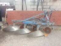 Vintage Tractor 3 furrow ransome plough RARE