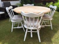 Gorgeous Shabby Chic Extending Pine Table and 4 Lovely Chairs With Laura Ashley Cushions