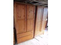 SOLID PINE MATCHING WARDROBES X 2, BEDSIDE TABLE, DRESSING TABLE WITH MIRROR AND STOOL