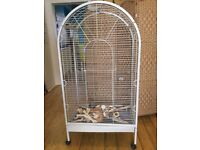 Birdcage - large parakeet cage on wheels & accesories