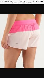 LULULEMON PINK SEA BREEZE SHORTS WITH BUILT IN LINER! SIZE 12