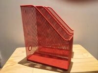A pair of stylish red metal mesh magazine rack. Collection only!