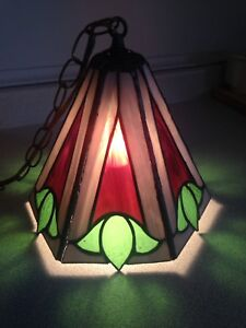 Vintage Stained Glass Swag Lamp