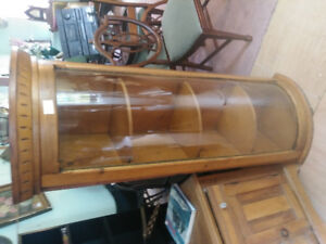 antique pine curved glass cabinet